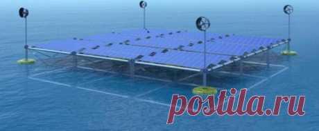 Плавающая платформа, которая производит энергию от волн, ветра и солнца Плавающая платформа, которая производит энергию от волн, ветра и солнца: проект немецкого стартапа.