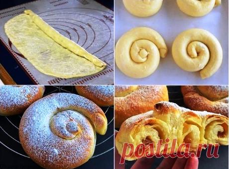 """Испанские булочки """"Ensaimadas"""" Для теста: 300 г муки 1 ч.л. сухих дрожжей"""