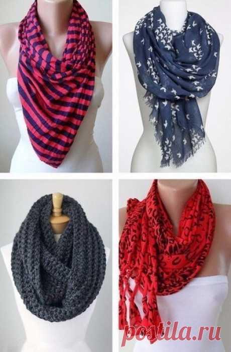 Как стильно завязать шарф этой осенью. Забирайте себе на стену, чтобы было всегда под рукой.