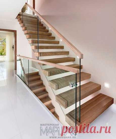 Лестницы, ограждения, перила из стекла, дерева, металла Маршаг – Консольная лестница со стеклом