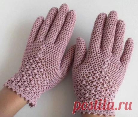 Элегантность в образе. Кружевные летние перчатки Крючком + схемы