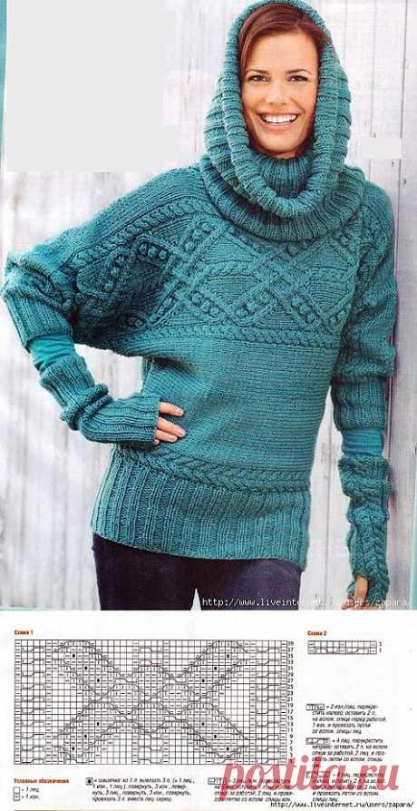 Пуловер, связанный поперек..