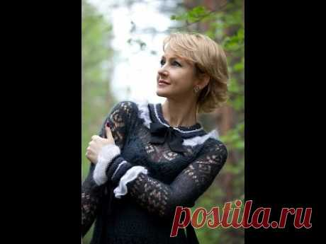 Черное вязаное платье от Тancha. Beautiful black knitted dress of Тancha.