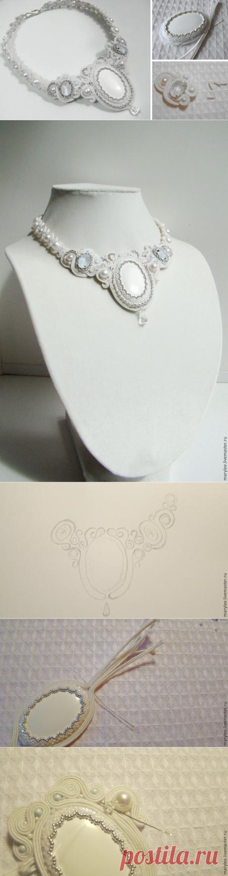 Делаем нежное сутажное колье «Полёт над облаками» - Ярмарка Мастеров - ручная работа, handmade