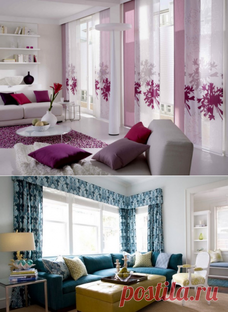 Beautiful curtains in an interior: a photo of idea of curtains in an interior of a bedroom, the nursery, kitchen, a drawing room