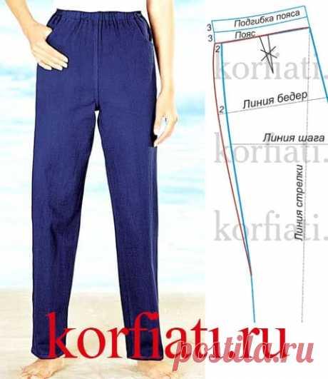 Выкройка брюк на резинке от А. Корфиати Выкройка брюк на резинке: проще не бывает! Если хотите сшить брюки самостоятельно, но у вас мало опыта, воспользуйтесь советом - сшейте брюки на резинке!