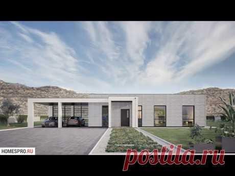 Проект одноэтажного дома с плоской крышей FLAT-001-EH