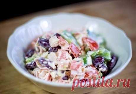 Как приготовить салат с крабовыми палочками и фасолью - рецепт, ингредиенты и фотографии