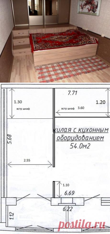 Спальня: кровать-трансформер и шкаф-купе с подиумом