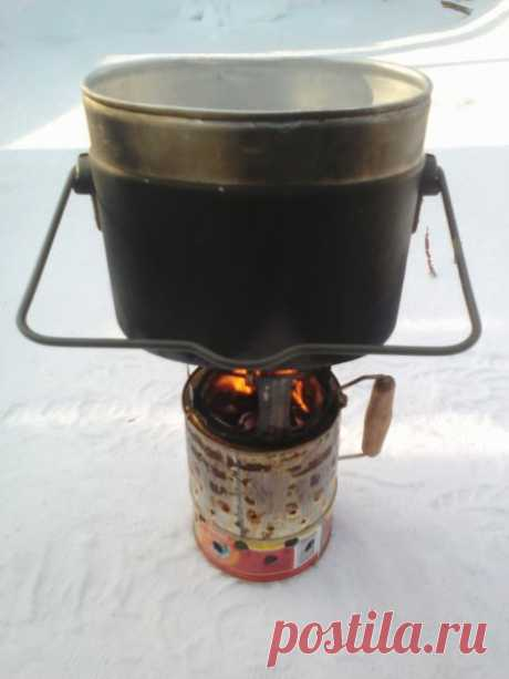 Походная пиролизная печь улучшенной конструкции из консервных банок