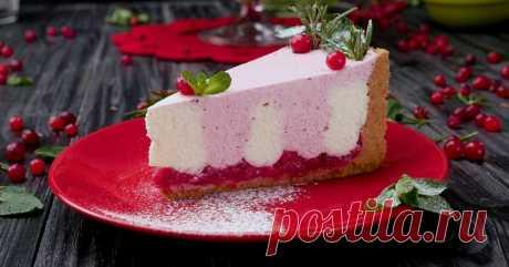 Творожный торт с клюквой: феерически красивый и простой