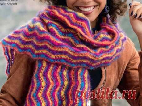 Волнистый узор крючком для шарфа