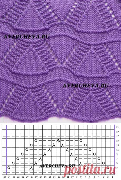 Узор спицами волнистый 1023 | каталог вязаных спицами узоров