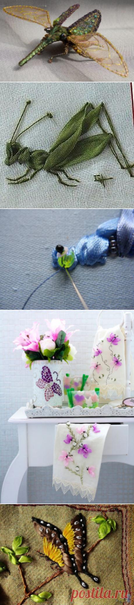 Приемы вышивания лентами насекомых — Рукоделие