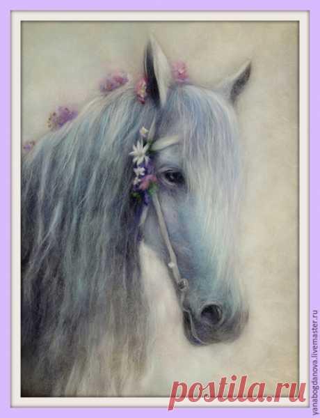 Купить Картина шерстью.Песня. - сиреневый, конь, лошадь, картина из шерсти, картина шерстью