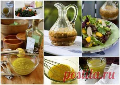 Подборка заправок для салатов  Сохрани себе и поделись с друзьями!!  1. Желток + горчица + лимонный сок + соль, стевия + оливковое масло 2. Семена чиа (обжарить) + йогурт 3. Оливковое масло + яблочный уксус + чеснок + лимонный сок + дижонская горчица + специи (соль, перец, сушёный тимьян) 4. Йогурт + хрен + горчица + смесь перцев + зелёный лук 5. Помидор + оливковое масло + укроп + красный перец + соль + чеснок 6. Лёгкий творожный сыр + кефир + сухой чеснок