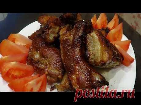 Свиные ребрышки в соево  - медовом соусе