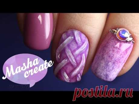 Knitted Manicure for February 14 gel TNL Plush varnish. The winter Design of nails gel is delicious with a flock. Review