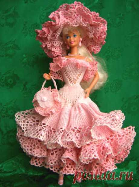 Вязание. Трикотаж. Одежда для куклы Барби. Схемы вязания.