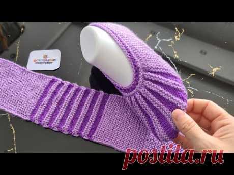 Совершенно новая модель женских пинеток / вязание женских тапочек