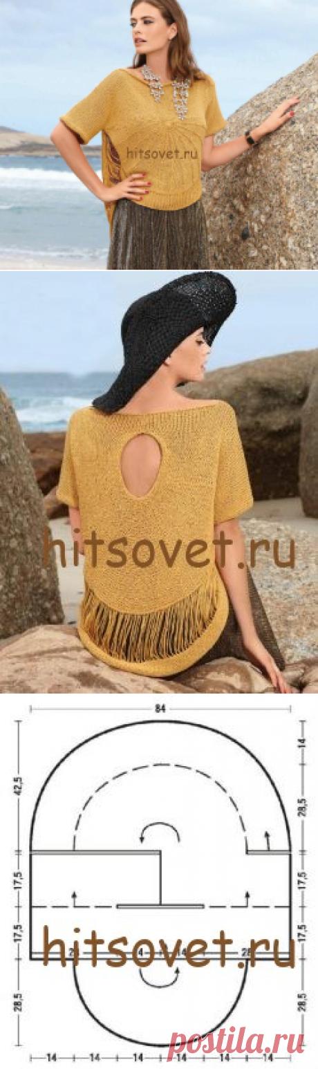 Летний свободный пуловер спицами - Хитсовет