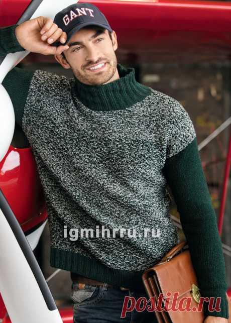Меланжевый мужской пуловер с однотонными рукавами. Вязание спицами со схемами и описанием