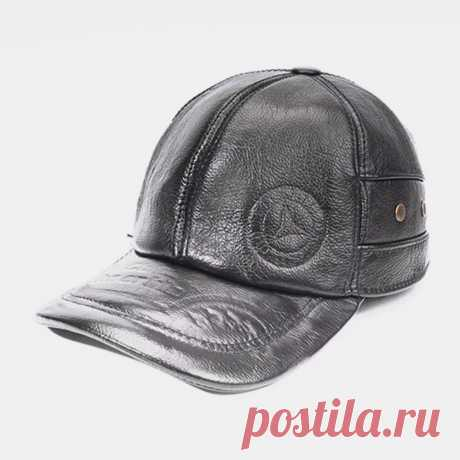 Men Genuine Leather Large Brim Keep Warm Plus Thickness Windproof Ear Protection - US$33.99