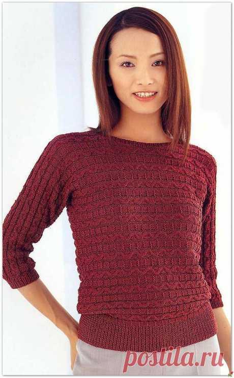 Красный пуловер спицами.