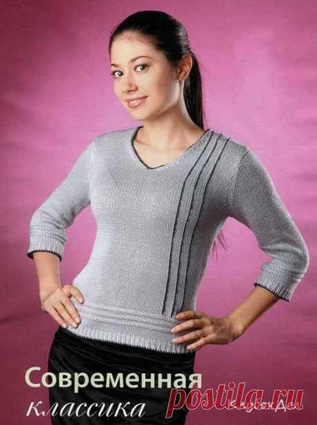 Вязание спицами. Серый пуловер.