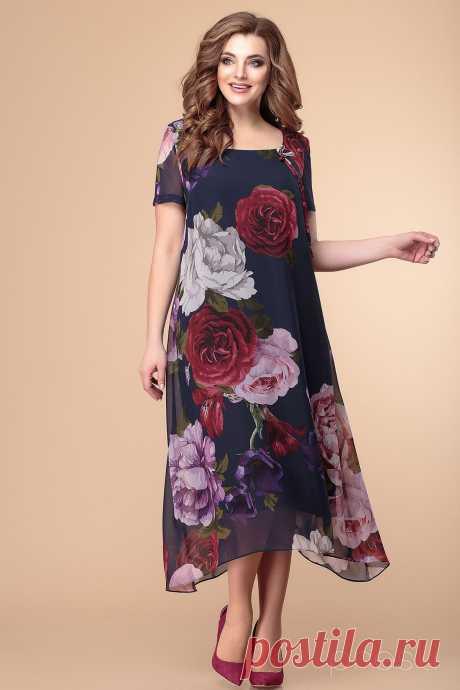 Платье Romanovich style 1-1332 крупные пионы - Белорусская Одежда