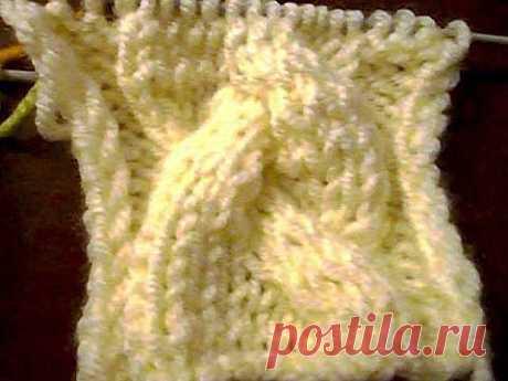 Узор для вязания спицами двойная косичка - YouTube