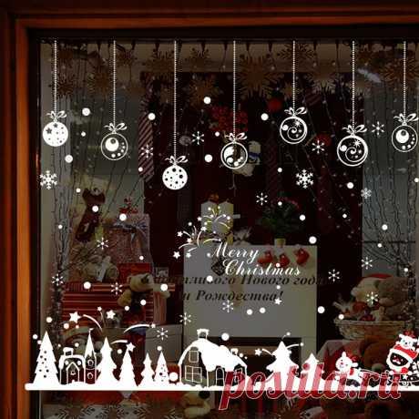 Горячий Новый Год Творческий Шарм Подвески Снег Плакат Рождество Стены Наклейки Оконное Стекло Декоративные Настенные Adornos Navidad купить на AliExpress