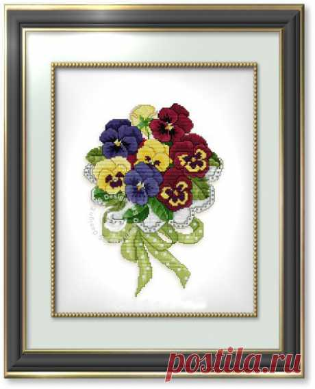 Pansies. Embroidery cross. Scheme