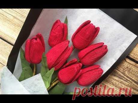 ABC TV Как сделать букет из тюльпанов Букет цветов из крепированной бумаги