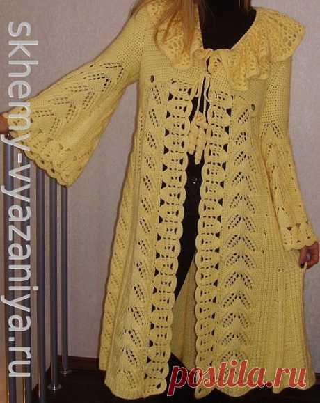 Ажурное пальто с кружевным воротником в стиле бохо. Схема вязания на skhemy-vyazaniya.ru
