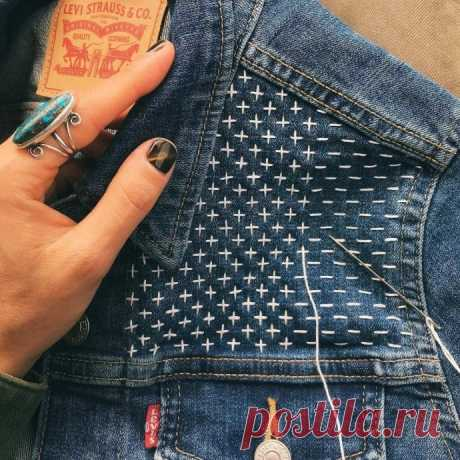 Украшаем джинсовые вещи простой вышивкой