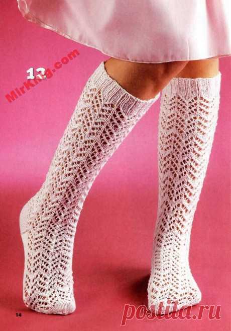 Ажурные гольфы девочкам - Пинетки, носки, вязаная обувь - Каталог файлов - Вязание для детей