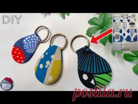 Брелок для ключей из обрезков ткани и картона