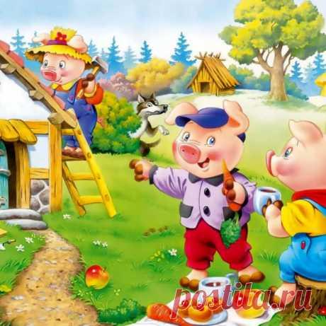 Иллюстрация к прекрасной сказке про трех поросенков, которые строили себе дома на зиму. Дела у маленьких поросят пошли очень плохо, когда из леса к ним пришел волк и захотел их съесть.