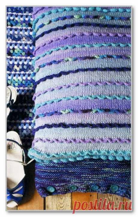 Вязание спицами. Модели для дома и интерьера. Чехол для подушки с цветными оборками. Размеры 40 х 60 см