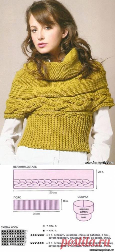 Оригинальный женский свитер с косами