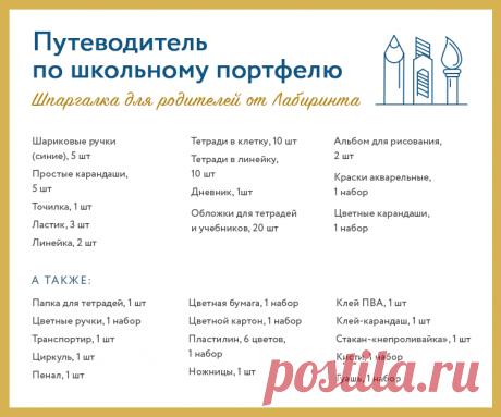 Шпаргалка для родителей. Какие школьные принадлежности нужно приобрести к 1 сентября? | Лабиринт | Яндекс Дзен