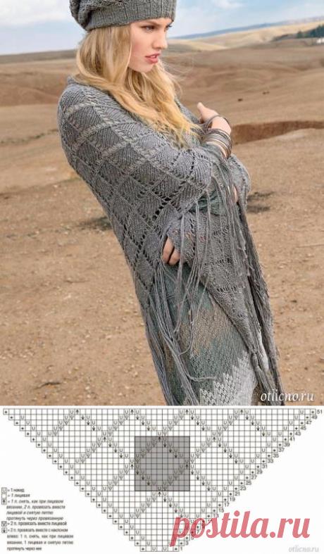 Вязаная шаль с узором «ромбы»