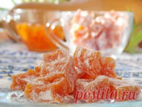 Las frutas confitadas de la calabaza. La receta poshagovyy de la foto en las condiciones de casa - Ботаничка.ru