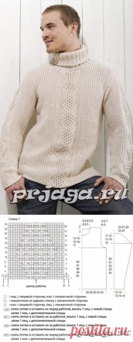 Мужской пуловер спицами текстурным и центральным узорами