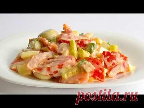 Салат с Грибами, Колбасой и Помидорами кулинарный видео рецепт