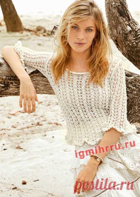 Ажурный летний пуловер с баской. Вязание спицами со схемами и описанием