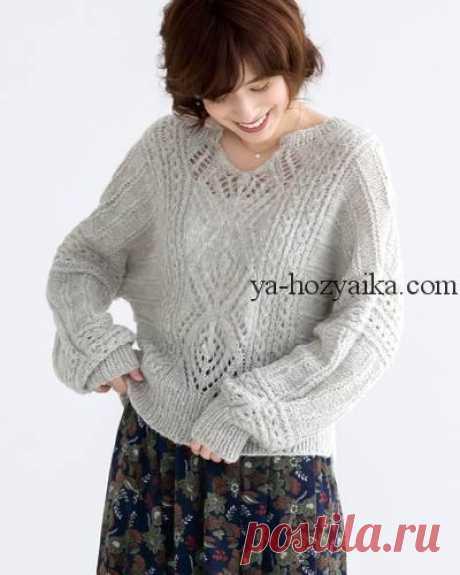 Ажурный пуловер из тонкого мохера. Схемы и выкройки женских пуловеров Ажурный пуловер из тонкого мохера. Схемы и выкройки помогут Вам связать понравившуюся модель.
