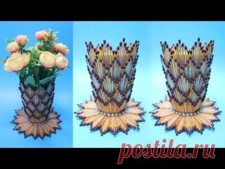VAS BUNGA Dari KOREK API KAYU | Ide kreatif Korek kayu ! Vase with Matchsticks | Flower Vase DIY - YouTube