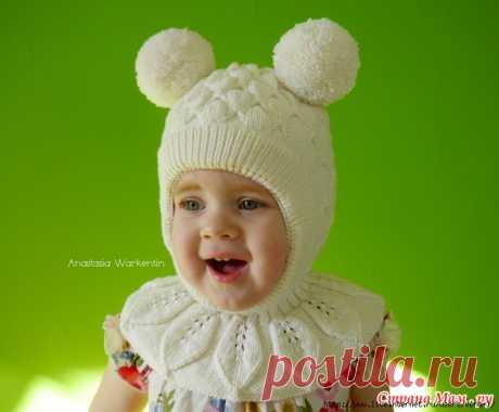 >Шапка-шлем для девочки узором «Бабочки» + описание